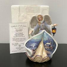 "Bradford Thomas Kinkade Winter Angel of Glory Angels of Light Illuminated Mip 8"""