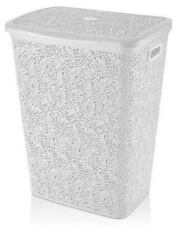 Large 57-Litre Plastic Lace Laundry Basket Washing Clothes Storage Hamper Box