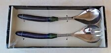 CLASSIC TOUCH 2 PIECE SALAD SERVERS SET EGGPLANT DESIGN MADE IN INDIA