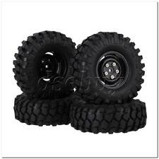 4x RC1:10 Rock Crawler Simulation Rubber Tire & Black Plastic 4 Holes Wheel Rim