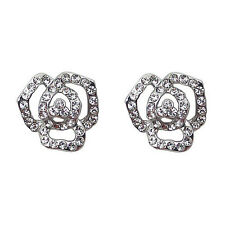 Fashion Jewelry - 18K White Gold Plated Flower Stud Earrings (FE100)