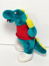 "BJ Toy Co Dinosaur Turquoise 13"" Plush Red Shirt White Sneakers Stuffed VINTAGE"
