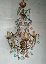 Large Vintage French Gilded Metal and Wood Chandelier Orange Blue Glass Drops