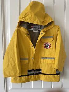 Toddler Boys 3T Yellow Hooded Rescue Volunteer Fireman Jacket Rain Coat