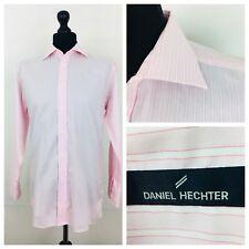 """Daniel Hechter Mens Shirt 15"""" Collar Long Sleeve Pink Striped Cotton    (S92)"""