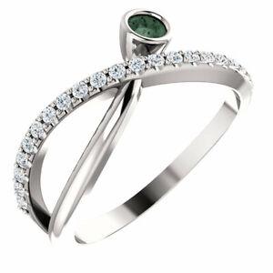 Chatham Created Alexandrite & 1/5 CTW Diamond Ring In Platinum