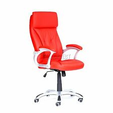 Red Corporate Computer Office Swivel Desk Chair Executive PU Leather High Back