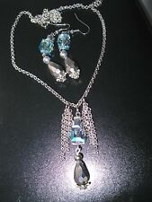 CRYSTAL & HEMATITE HANDCRAFTED NECKLACE & MATCHING EARRING SET-GORGEOUS! LOOK!
