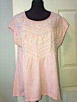 JOHNNY WAS J W Los Angeles JWLA light pink knit top beige embroidery  women's M