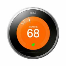 Used Google Nest Learning Thermostat stainless  Works With the Google Assistant