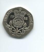 1988  Royal Mint Proof 20p coin taken from a Royal Mint Proof Set.
