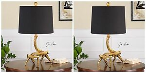 "PAIR MODERN LODGE DECOR 22"" AGED GOLD DEER ANTLER ROPE ACCENT TABLE LAMPS"