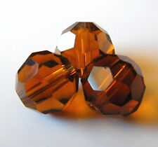 30pcs 12mm Faceted Round Crystal Beads - Amber Brown