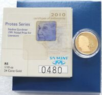 2010 South Africa Protea Nadine Gordimer 5 Rand Gold Proof 1/10oz Coin Box Coa