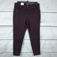 Style & Co Ultra Skinny Leg Mid Rise Womens Size 14 Maroon Chino Pants Stretch