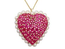 3.36ct Ruby and Seed Pearl, 14ct Yellow Gold 'Heart' Pendant/Brooch 2000s