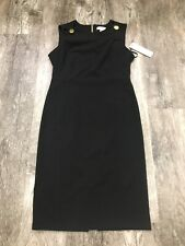 $134 NEW Calvin Klein Black Dress With Gold Butttons Zipper Size 10. 3-6