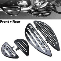 Black Billet Front Rear Floorboards Foot Pegs Fit For Harley Touring Road Glide