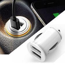 Universal White Car Dual 2 Port USB Mini Bullet Charger Adapter 12V Power New