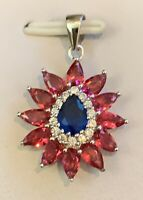 4ct Blue Sapphire, Ruby & White Topaz 925 Solid Sterling Silver Flower Pendant