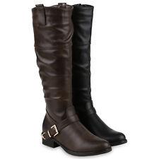 Damen Reiterstiefel Schnallen Metallic Leder-Optik Stiefel 812440 Schuhe