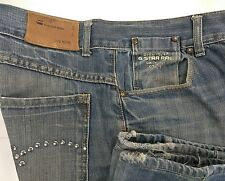 G-Star Originals Raw Denim Jeans Zipper Fly Pocket Studs Distressed Mens 32 X 29