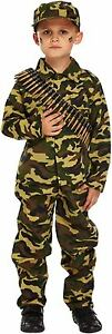 Boys Army Soldier Child's Fancy Dress Dressing Up Outfit World Book Day Costume