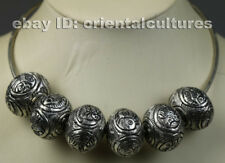 Tribal exotic ethnic chinese hand-carved balls miao silver necklace