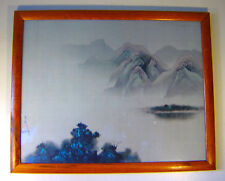 """Vintage 1978 Signed David Lee Landscape Mountains Lake Framed Print 28"""" x 22"""" C1"""