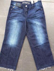 "NEXT 8 BNWT dark blue rinse crop denim wide leg jeans frayed hem 24"" Leg"