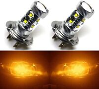 LED 50W H7 Orange Amber Two Bulbs Head Light Low Beam Replacement Lamp Fit