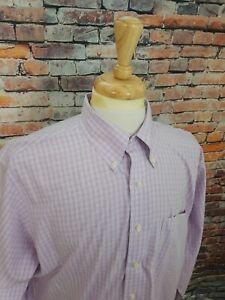 Brooks Brothers 1818 NONIRON Lavender Purple Plaid Button Up Dress Shirt 17.5 33