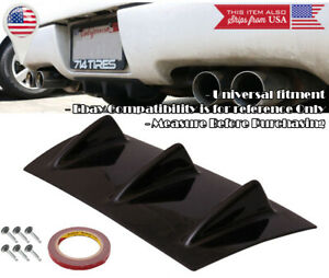 """14"""" x 6"""" ABS Gloss Black Rear Bumper Valance Diffuser Spoiler 3 Fins For Ford"""