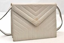 Authentic YVES SAINT LAURENT Shoulder Bag Leather White 94825