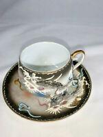 Japanese Moriage Art Flying Dragon Tea Cup, Saucer Small set Raised Detail