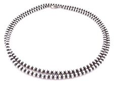 "30"" Navajo Pearls Sterling Silver 5mm Beads Necklace"