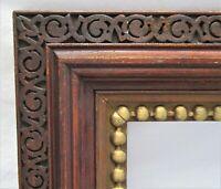 "Antique Fits 8""x10"" Dark Fumed Carved Oak Gold Gilt Victorian Country Primitive"
