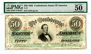 1863     $50   Confederate Currency. T-57    PMG 50