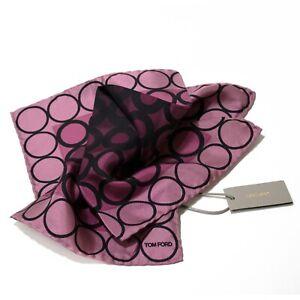 Men's Tom Ford 100% Silk Pink Black Ring Pattern Pocket Square MSRP $160