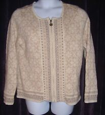 Coldwater Creek Size L (14-16) Beige Snowflake Cardigan w/Sequins & Beads