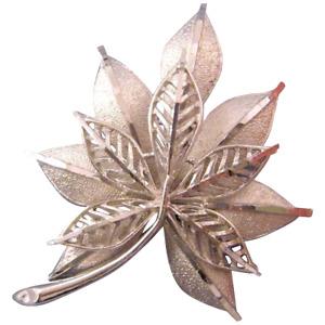 Coro Tailored Silvertone Double Leaf Brooch