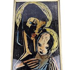 """original Holzschnitt handkoloriert """"Mutter Madonna mit Kind"""" Stil Otto Mueller"""