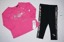 NWT $44.5 CALVIN KLEIN JEANS 2pc set long sleeve shirt GIRL 6-9M pink, black