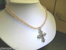 NEW KIRKS FOLLY  CHRISTAN CROSS PINK  necklace borealis crystal  new free ship