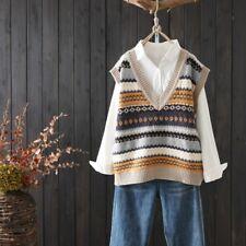 Женский вязаный жилет майка свитер жилет без рукавов V-образным вырезом в полоску повседневные