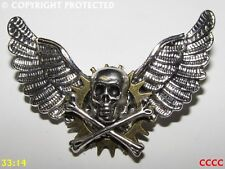 Steampunk brooch badge pin silver owl wings skull&crossbones pirate Harry Potter