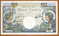 France, 1000 francs, 1944, Pick 96 (96b), WWII, Ch. UNC