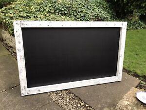 Large Shabby Rustic White Chalkboard Custom Menu Restaurant Chalkboard Stressed