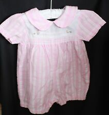 00 PETER RABBIT SMOCKED romper Suit Royal Baby plisse embroidery pink white chec