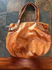 B. MAKOWSKY  Leather Studded Satchel Hobo Handbag Tan Brown